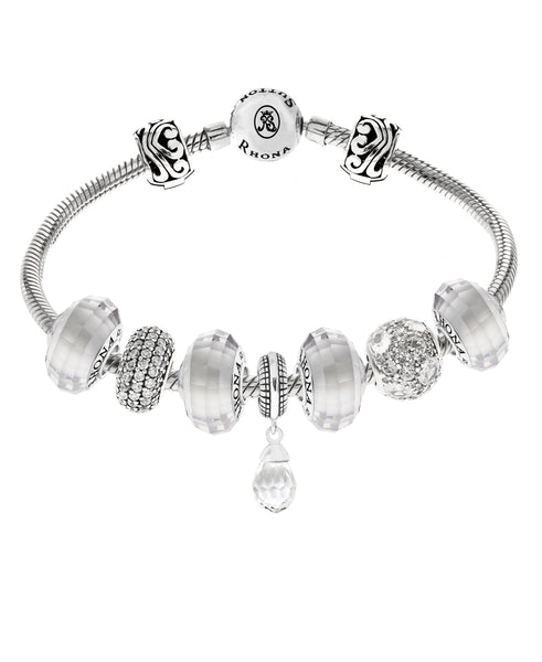 Cubic Zirconia Multi-Charm Bracelet Gift Set in Sterling Silver (4 colors) - Rhona Sutton Jewellery