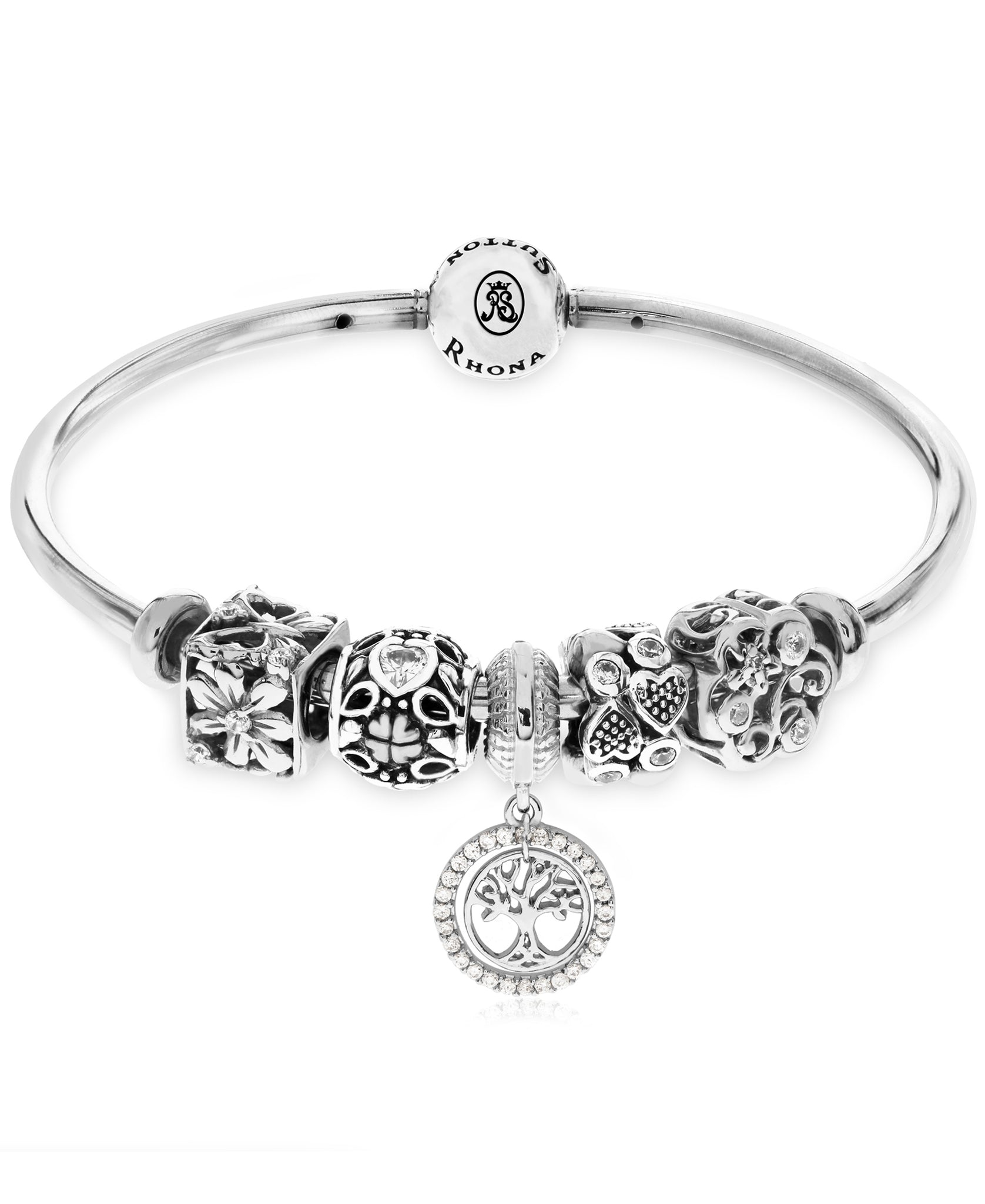 Cubic Zirconia Family Tree Charm Bangle Bracelet Gift Set in Sterling Silver (3 colors) - Rhona Sutton Jewellery