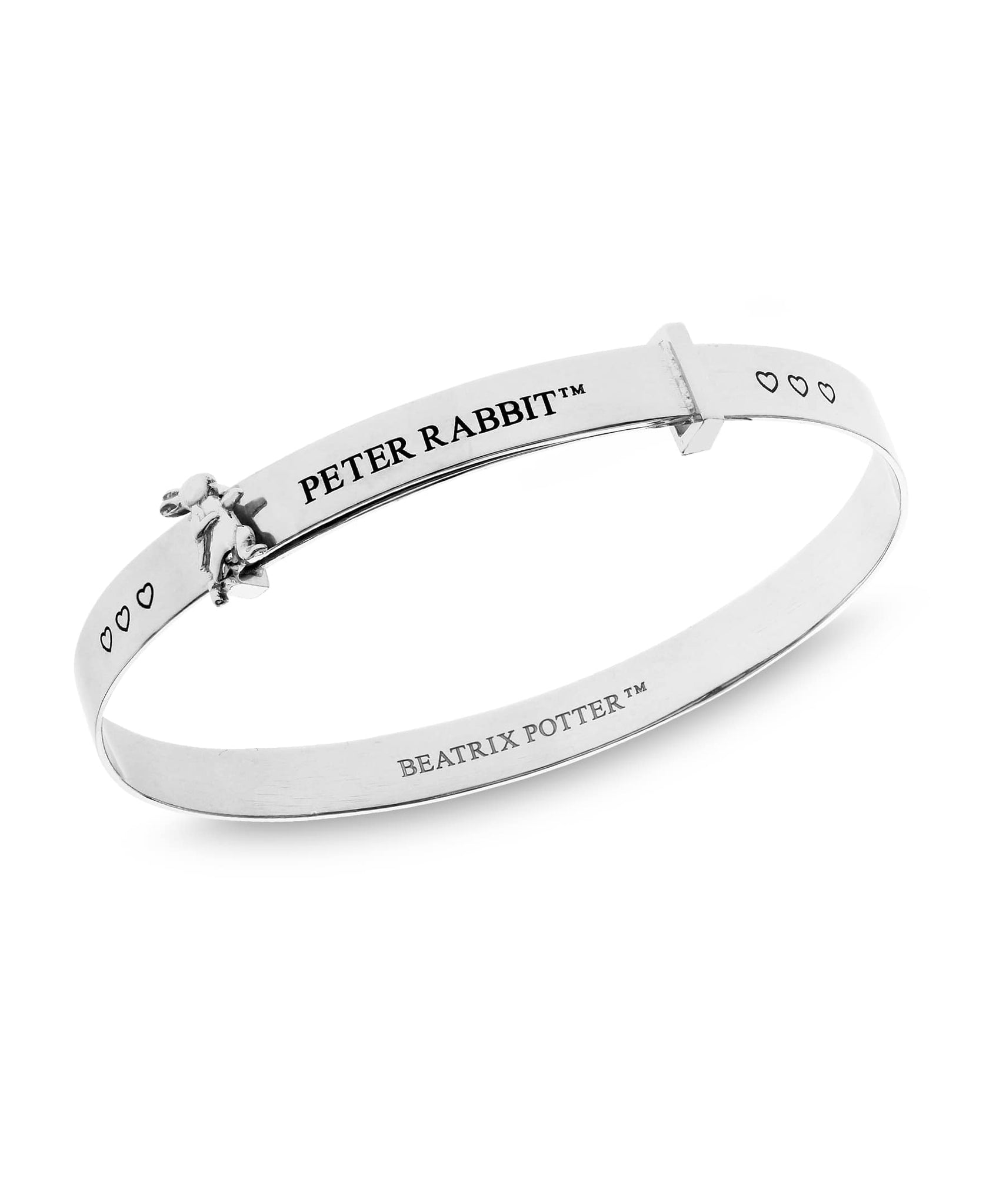 Beatrix Potter Sterling Silver Peter Rabbit Hearts Expander Bangle Bracelet - Rhona Sutton Jewellery