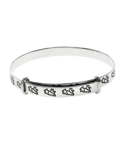Beatrix Potter Sterling Silver Running Peter Rabbit Expander Bangle Bracelet - Rhona Sutton Jewellery
