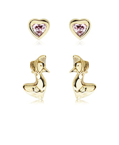 Beatrix Potter Gold Plated Silver Jemima Puddle Duck Set of 2 Stud Earrings - Rhona Sutton Jewellery