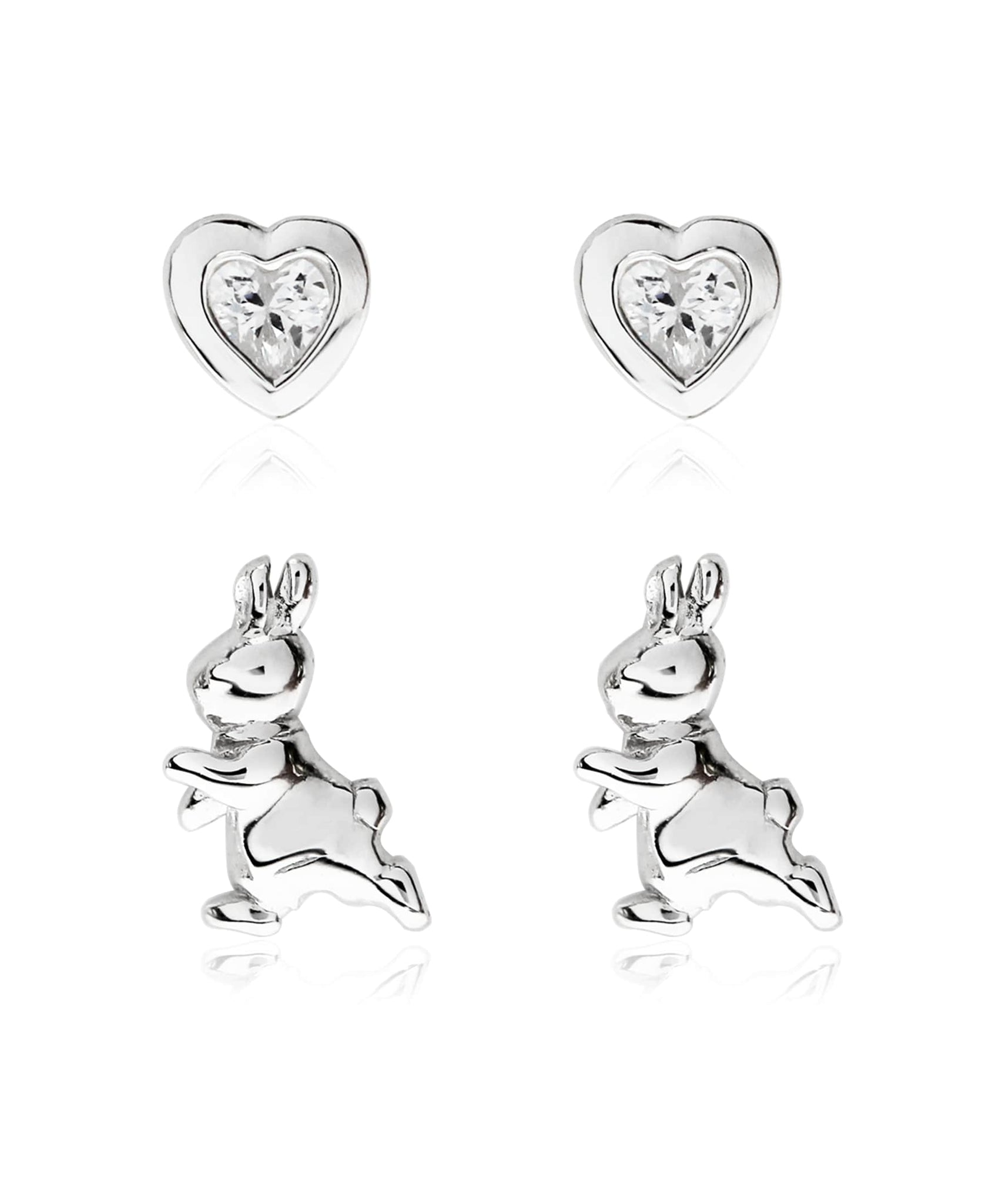 Beatrix Potter Sterling Silver Peter Rabbit Set of 2 Stud Earrings - Rhona Sutton Jewellery