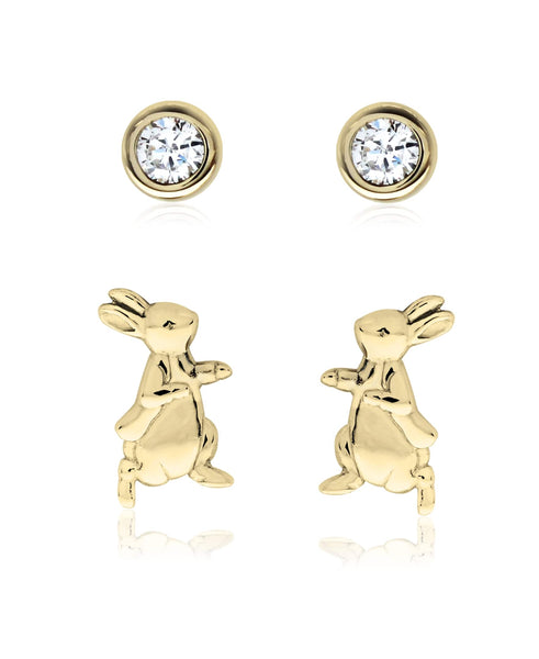 Beatrix Potter Gold Plated Silver Peter Rabbit Set of 2 Stud Earrings - Rhona Sutton Jewellery