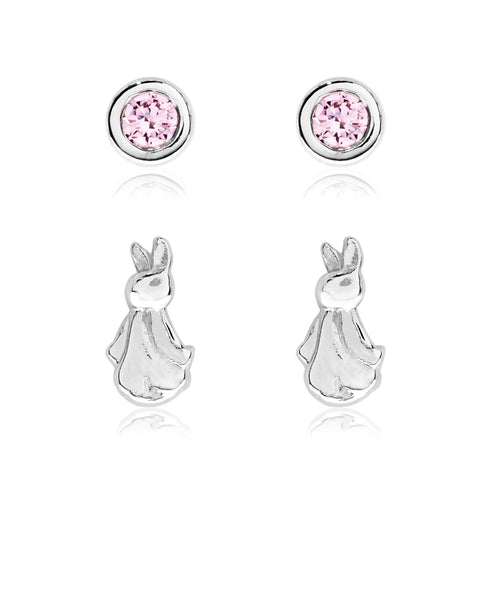 Beatrix Potter Sterling Silver Flopsy Bunny Set of 2 Stud Earrings - Rhona Sutton Jewellery
