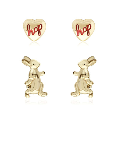 Beatrix Potter Gold Plated Silver Walking Peter Set of 2 Stud Earrings - Rhona Sutton Jewellery
