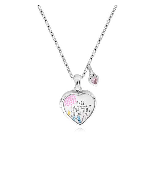 Beatrix Potter Sterling Silver Peter Rabbit Cubic Zirconia Heart Locket Necklace - Rhona Sutton Jewellery