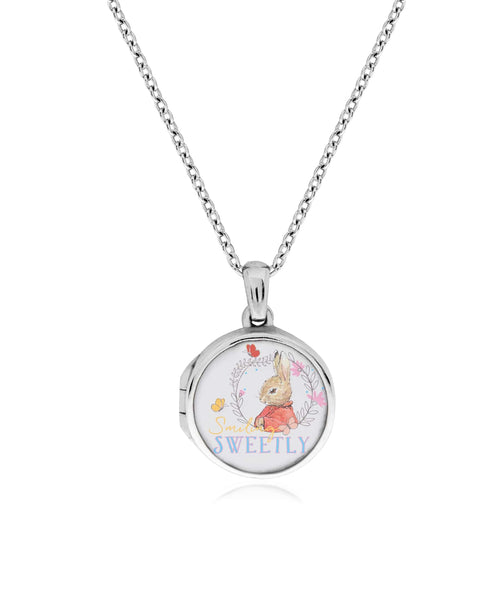 Beatrix Potter Sterling Silver Flopsy Bunny Cubic Zirconia Locket Necklace - Rhona Sutton Jewellery