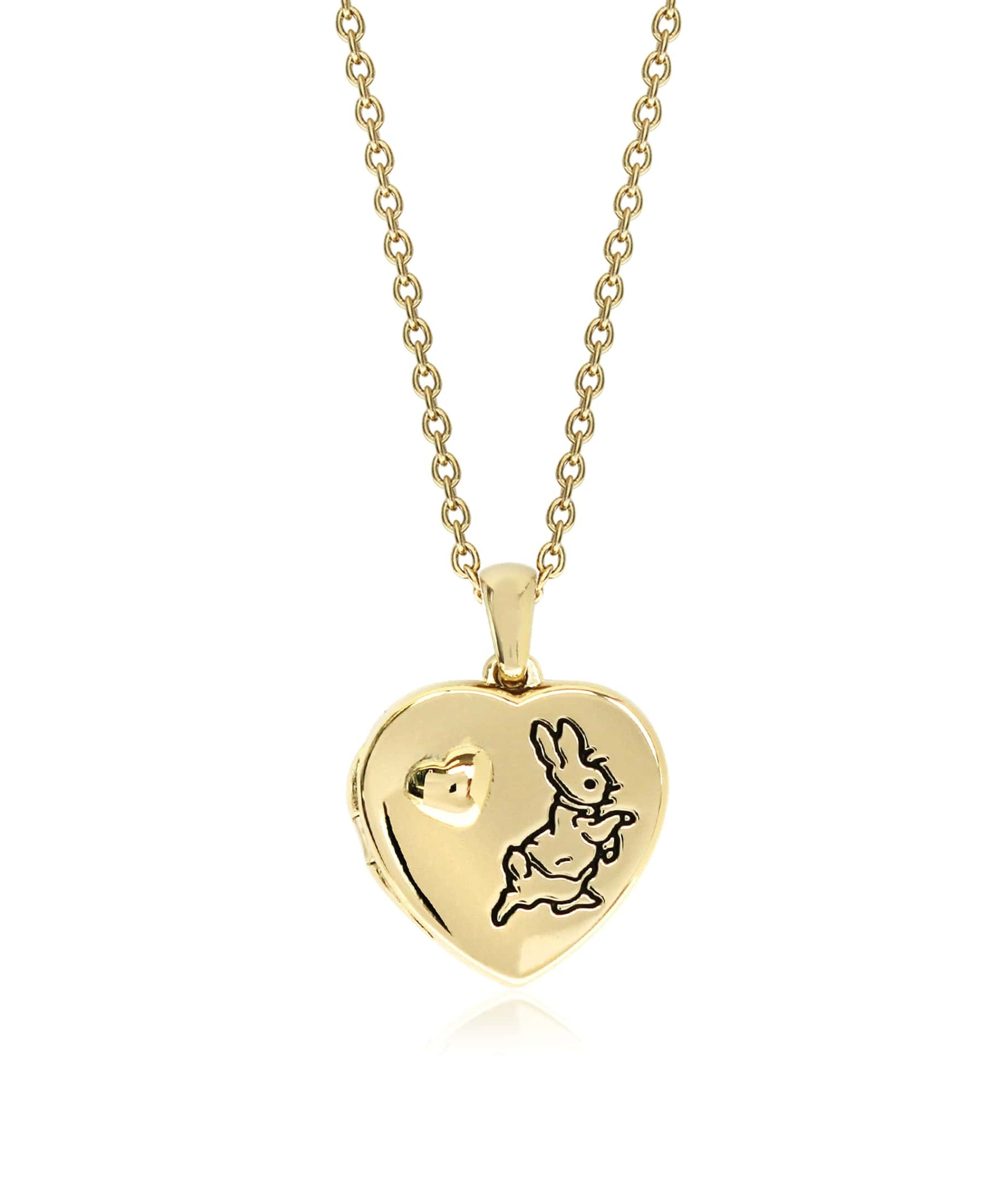 Beatrix Potter Gold Plated Sterling Silver Peter Rabbit Heart Locket Necklace - Rhona Sutton Jewellery
