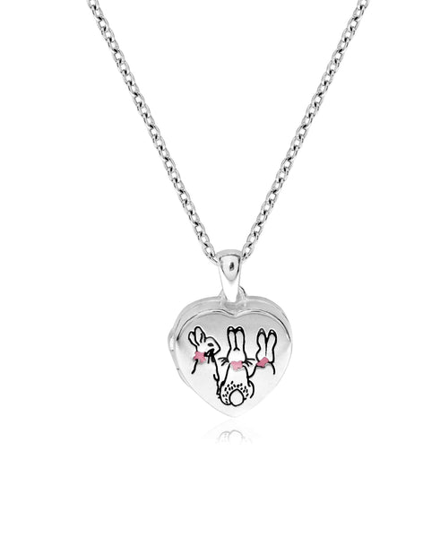 Beatrix Potter Sterling Silver Three Bunnies Heart Locket Necklace - Rhona Sutton Jewellery