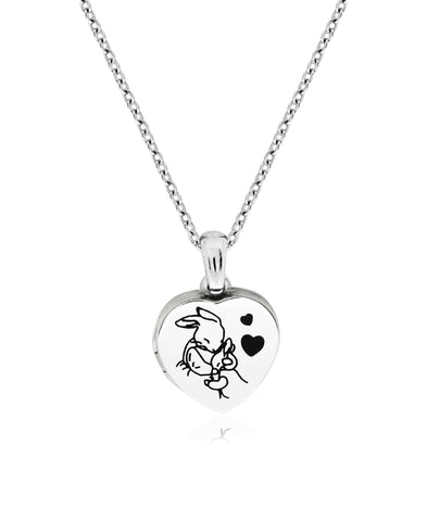 Beatrix Potter Sterling Silver Mother Rabbit Heart Locket Necklace - Rhona Sutton Jewellery