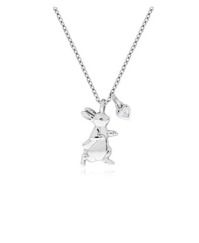 Beatrix Potter Sterling Silver Peter Rabbit Cubic Zirconia Pendant Necklace - Rhona Sutton Jewellery