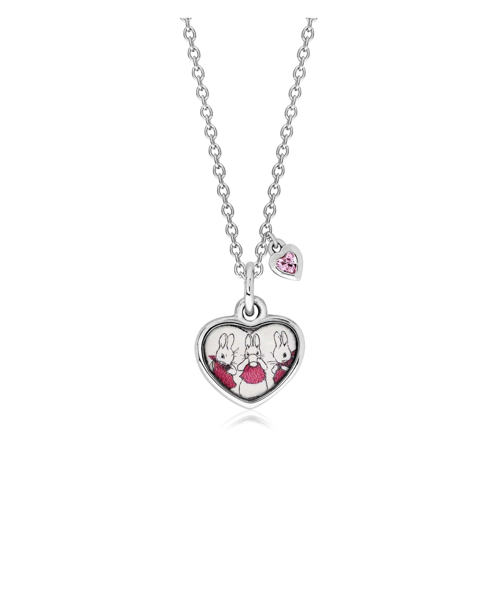 Beatrix Potter Sterling Silver Three Bunnies Cubic Zirconia Pendant Necklace - Rhona Sutton Jewellery