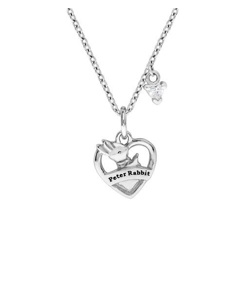 Beatrix Potter Sterling Silver Peter Rabbit Heart Shaped Pendant Necklace - Rhona Sutton Jewellery