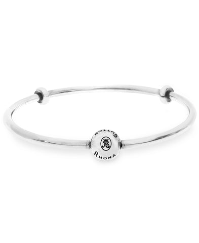 Charm Holder Bangle Bracelet with Stopper Beads (3 colors) - Rhona Sutton Jewellery