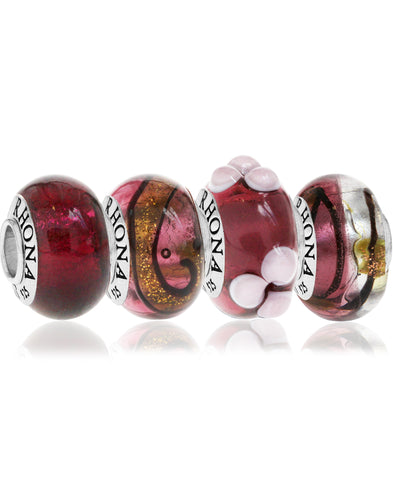 4-Pc. Set Painted Glass Bead Charms in Sterling Silver - Rhona Sutton Jewellery