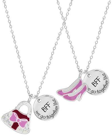 Children's Sterling Silver Shoes & Purse Best Friends Necklace Set - Rhona Sutton Jewellery