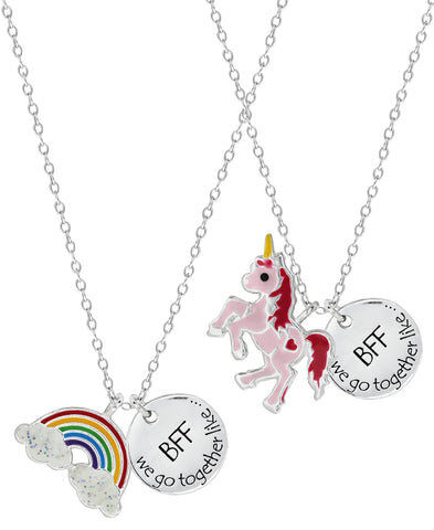 Children's Sterling Silver Rainbow & Unicorn Best Friends Necklace Set - Rhona Sutton Jewellery