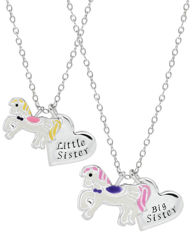 Children's Sterling Silver Horse Sisters Necklace Set - Rhona Sutton Jewellery
