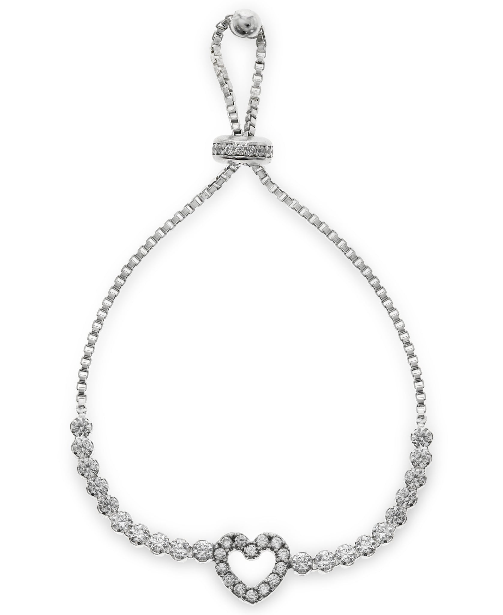 Children's Sterling Silver Cubic Zirconia Heart Friendship Bracelet - Rhona Sutton Jewellery