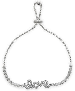 Children's Sterling Silver Cubic Zirconia Love Friendship Bracelet - Rhona Sutton Jewellery