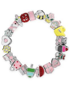 Children's Sterling Silver Enamel Bead Charm Stretch Bracelet - Rhona Sutton Jewellery
