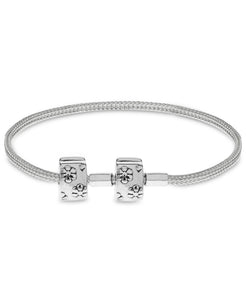 Children's Sterling Silver Floral Clasp Foxtail Chain Charm Carrier Bracelet with Stopper - Rhona Sutton Jewellery