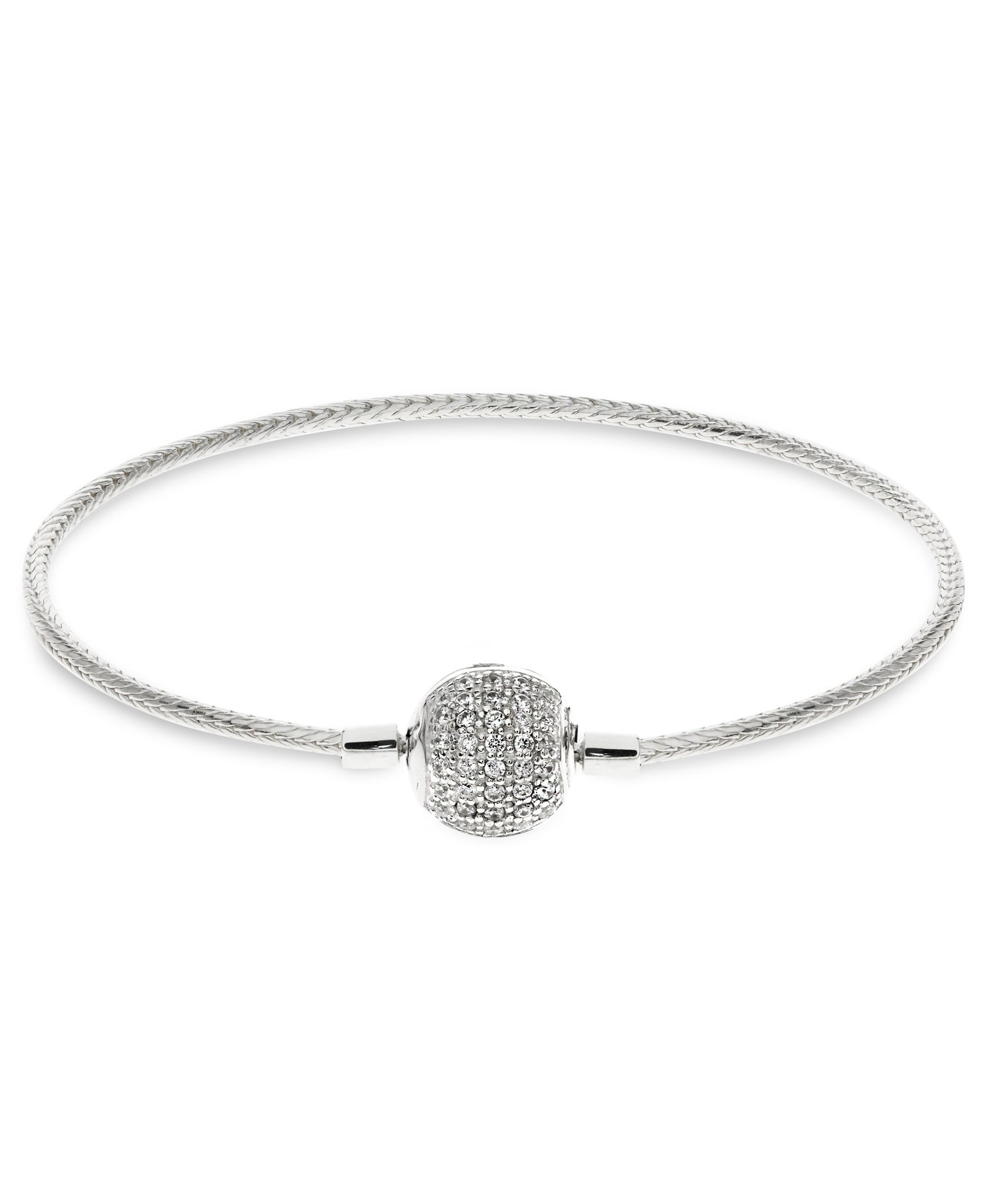 Children's Sterling Silver Pavé Clasp Snake Chain Charm Carrier Bracelet - Rhona Sutton Jewellery
