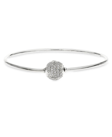 Children's Sterling Silver Charm Carrier Bangle with Pavé Clasp - Rhona Sutton Jewellery