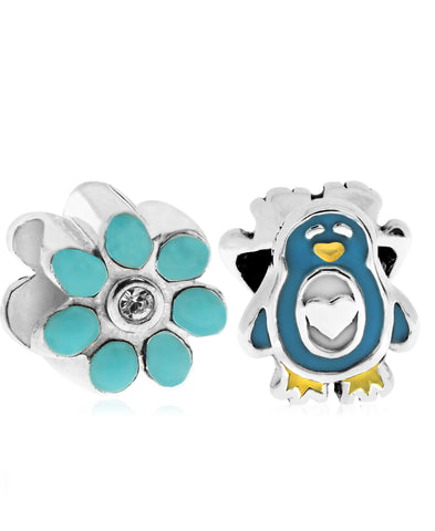 Children's Sterling Silver & Enamel Penguin & Flower Bead Charms - Set of 2 - Rhona Sutton Jewellery