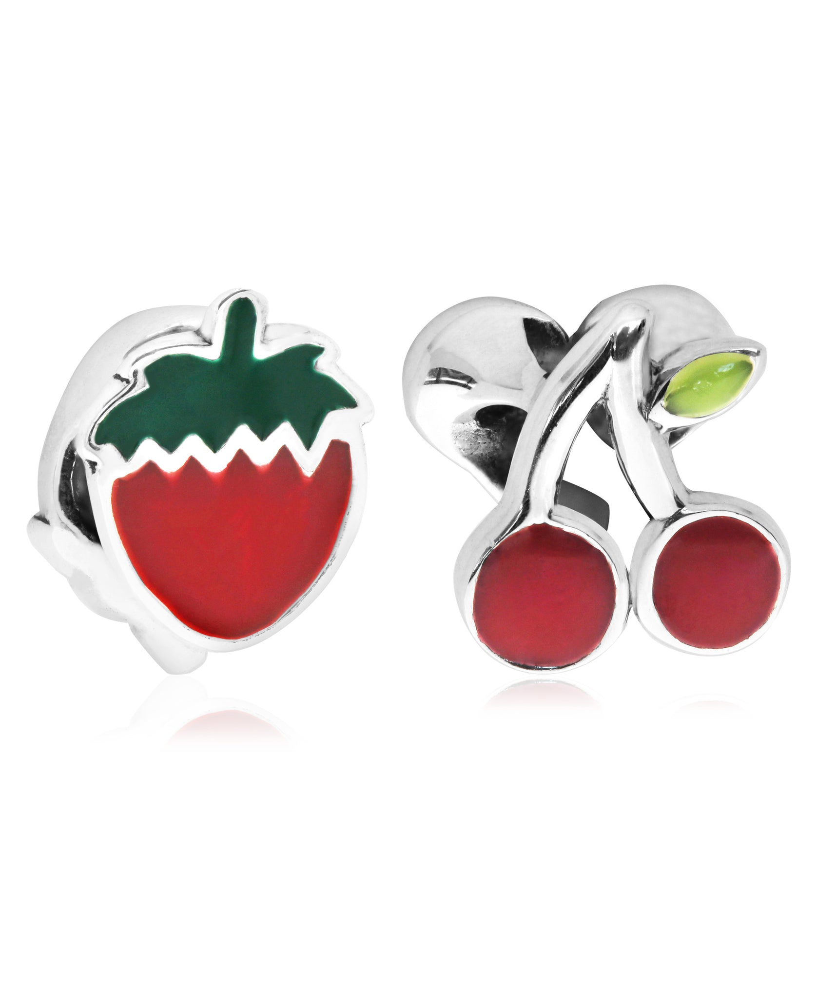 Children's Sterling Silver & Enamel Strawberry & Cherry Bead Charms - Set of 2 - Rhona Sutton Jewellery