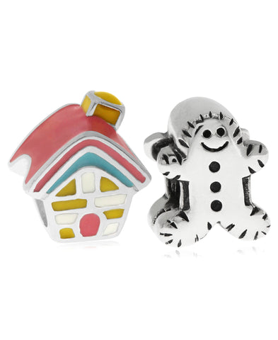 Children's Sterling Silver & Enamel House & Gingerbread Man Bead Charms - Set of 2 - Rhona Sutton Jewellery