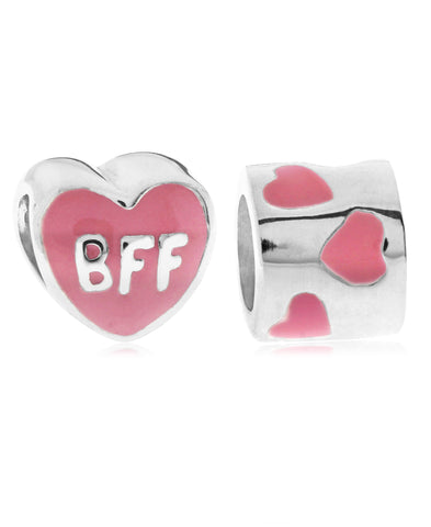Children's Sterling Silver & Enamel BFF Hearts Bead Charms - Set of 2 - Rhona Sutton Jewellery