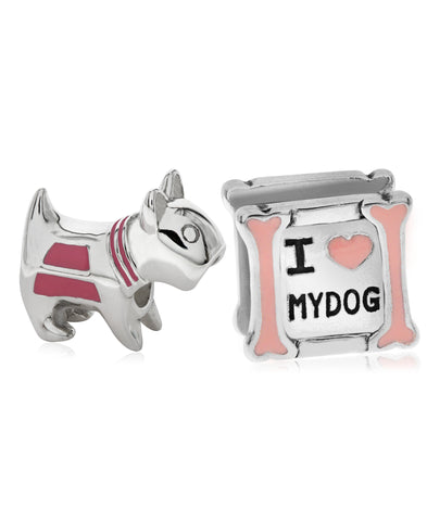 Children's Sterling Silver & Enamel Love My Dog Bead Charms - Set of 2 - Rhona Sutton Jewellery