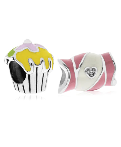 Children's Sterling Silver & Enamel Candy & Cupcake Bead Charms - Set of 2 - Rhona Sutton Jewellery