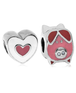 Children's Sterling Silver & Enamel Piglet & Heart Bead Charms - Set of 2 - Rhona Sutton Jewellery
