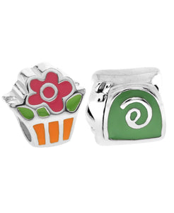 Children's Sterling Silver & Enamel Snail & Flower Bead Charms - Set of 2 - Rhona Sutton Jewellery
