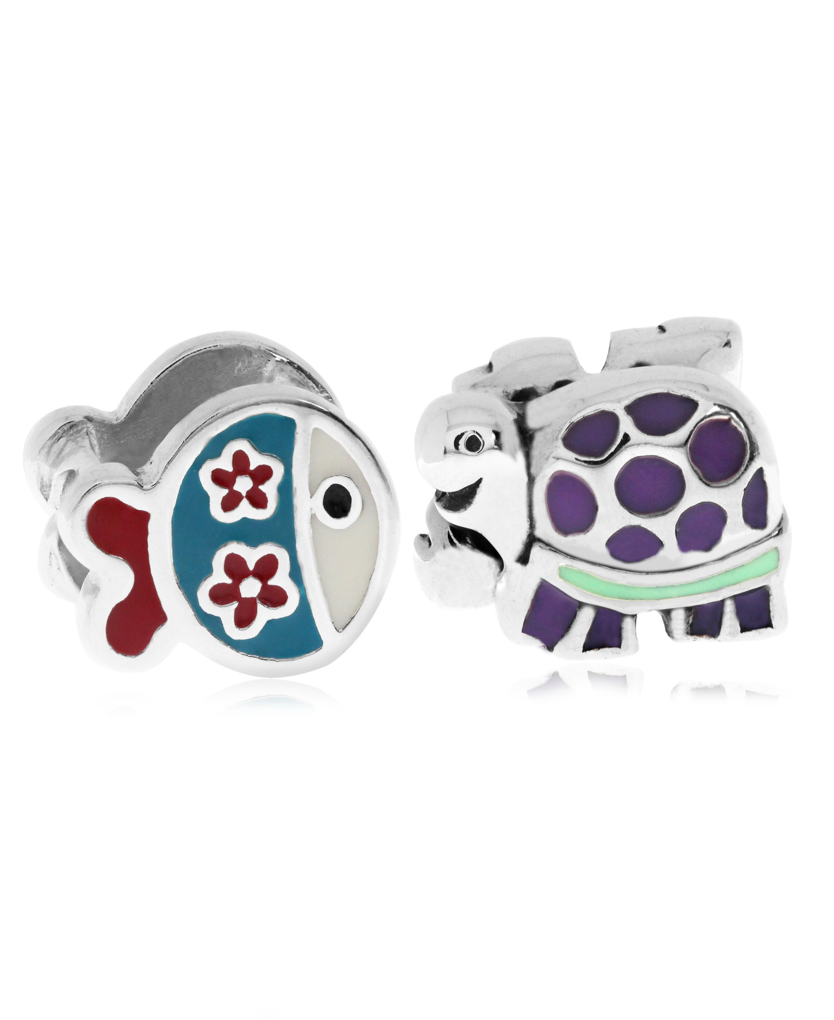 Children's Sterling Silver & Enamel Fish & Turtle Bead Charms - Set of 2 - Rhona Sutton Jewellery