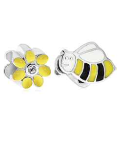 Children's Sterling Silver & Enamel Daisy & Bee Bead Charms - Set of 2 - Rhona Sutton Jewellery