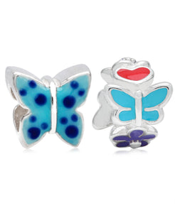 Children's Sterling Silver & Enamel Butterfly & Flowers Bead Charms - Set of 2 - Rhona Sutton Jewellery