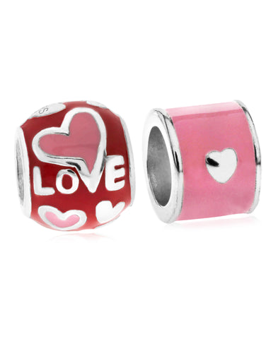 Children's Sterling Silver & Enamel Love Bead Charms - Set of 2 - Rhona Sutton Jewellery