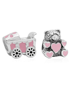 Children's Sterling Silver & Enamel Stroller & Teddy Bear Bead Charms - Set of 2 - Rhona Sutton Jewellery