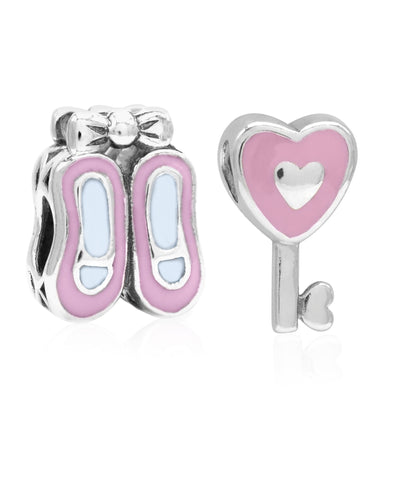 Children's Sterling Silver & Enamel Ballet Slippers & Heart Key Bead Charms - Set of 2 - Rhona Sutton Jewellery