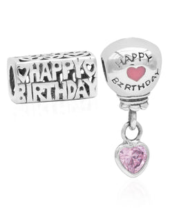 Children's Sterling Silver Happy Birthday & Balloon Bead Charms - Set of 2 - Rhona Sutton Jewellery