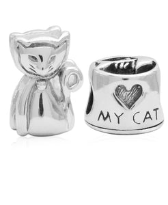 Children's Sterling Silver Love My Cat Bead Charms - Set of 2 - Rhona Sutton Jewellery
