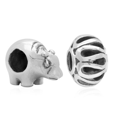 Children's Sterling Silver Hippo & Filigree Bead Charms - Set of 2 - Rhona Sutton Jewellery