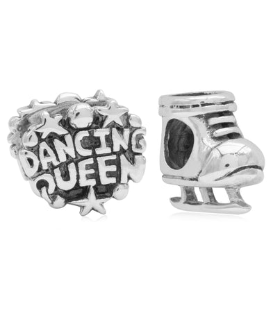 Children's Sterling Silver Dancing Queen & Skate Bead Charms - Set of 2 - Rhona Sutton Jewellery