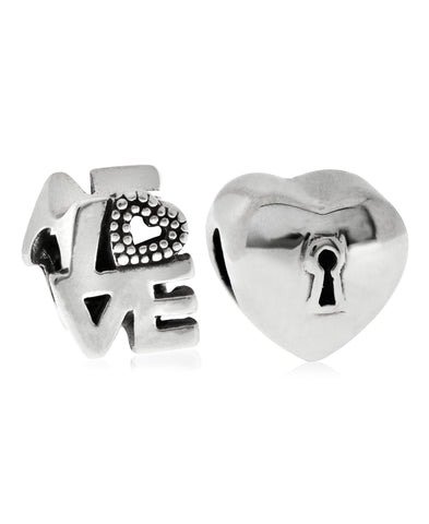 Children's Sterling Silver Love Lock Bead Charms - Set of 2 - Rhona Sutton Jewellery