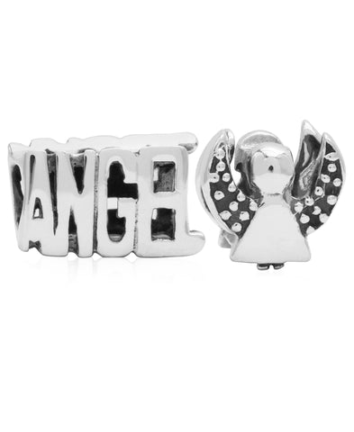 Children's Sterling Silver Angel Bead Charms - Set of 2 - Rhona Sutton Jewellery