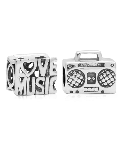 Children's Sterling Silver Love Music Bead Charms - Set of 2 - Rhona Sutton Jewellery