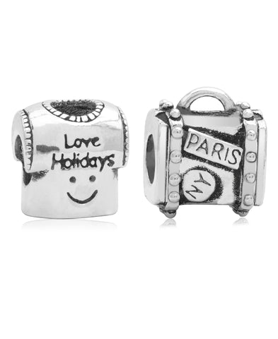 Children's Sterling Silver Holiday Travels Bead Charms - Set of 2 - Rhona Sutton Jewellery